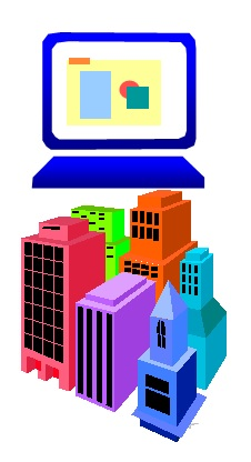 68 Computer Screen and Buildings
